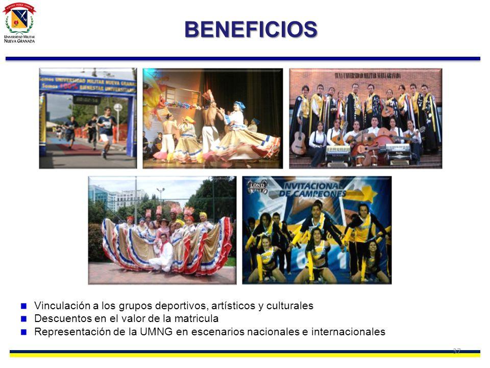 37 BENEFICIOS Vinculación a los grupos deportivos, artísticos y culturales Descuentos en el valor de la matricula Representación de la UMNG en escenar