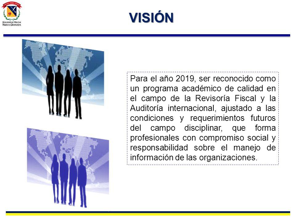 VISIÓN Para el año 2019, ser reconocido como un programa académico de calidad en el campo de la Revisoría Fiscal y la Auditoría internacional, ajustad
