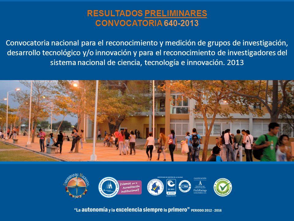 RESULTADOS PRELIMINARES CONVOCATORIA 640-2013 Convocatoria nacional para el reconocimiento y medición de grupos de investigación, desarrollo tecnológi