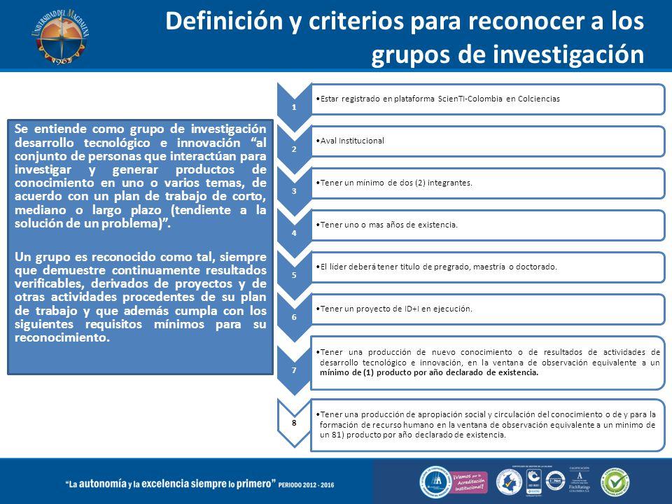 Definición y criterios para reconocer a los grupos de investigación Se entiende como grupo de investigación desarrollo tecnológico e innovación al con