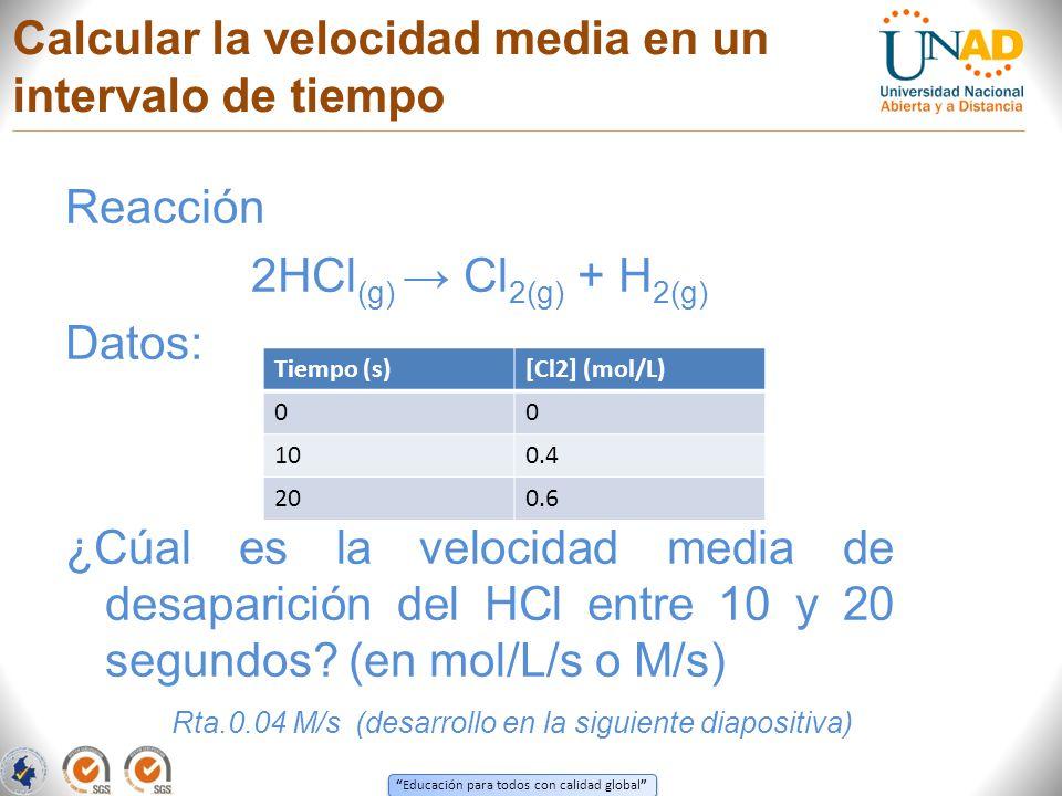 Educación para todos con calidad global Calcular la velocidad media en un intervalo de tiempo Reacción 2HCl (g) Cl 2(g) + H 2(g) Datos: ¿Cúal es la ve