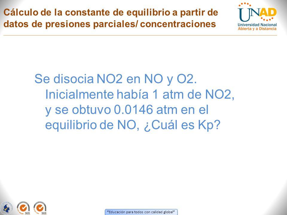 Educación para todos con calidad global Cálculo de la constante de equilibrio a partir de datos de presiones parciales/ concentraciones Se disocia NO2