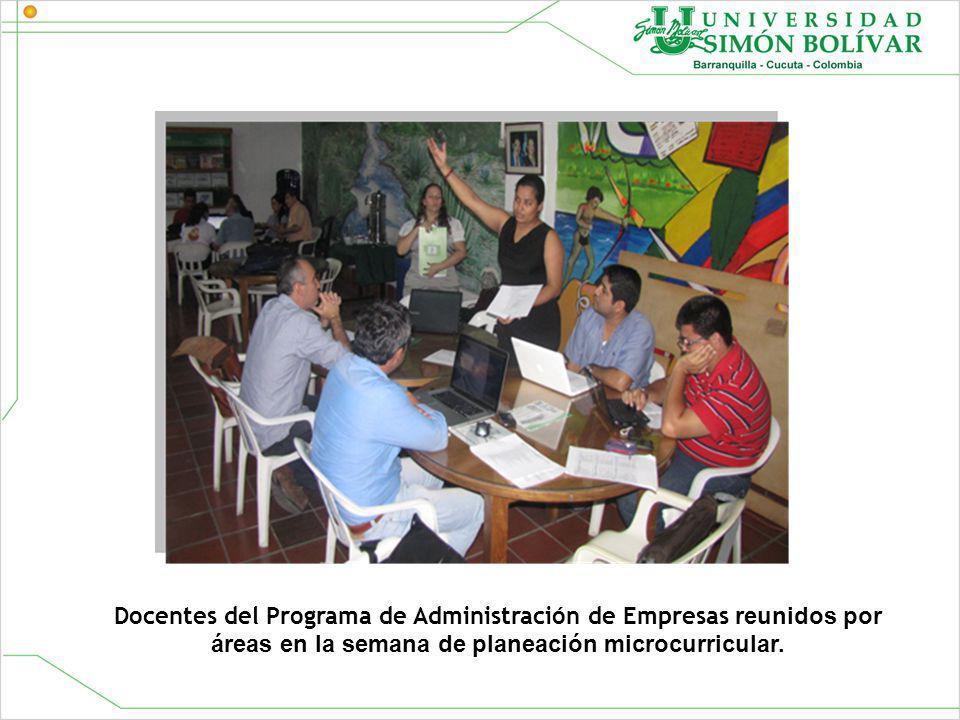Docentes del Programa de Administración de Empresas reunidos por áreas en la semana de planeación microcurricular.