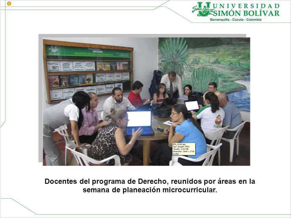Docentes del programa de Derecho, reunidos por áreas en la semana de planeación microcurricular.