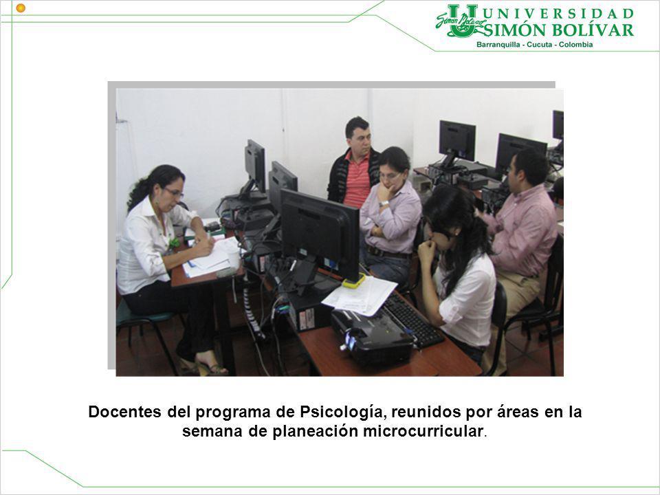 Docentes del programa de Psicología, reunidos por áreas en la semana de planeación microcurricular.