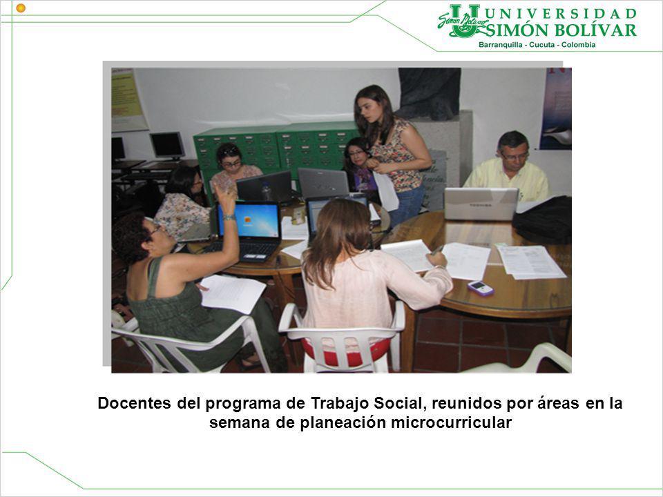 Docentes del programa de Trabajo Social, reunidos por áreas en la semana de planeación microcurricular