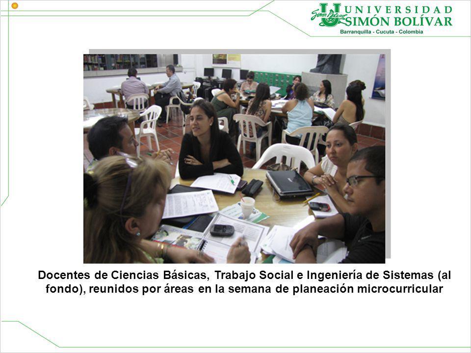 Docentes de Ciencias Básicas, Trabajo Social e Ingeniería de Sistemas (al fondo), reunidos por áreas en la semana de planeación microcurricular