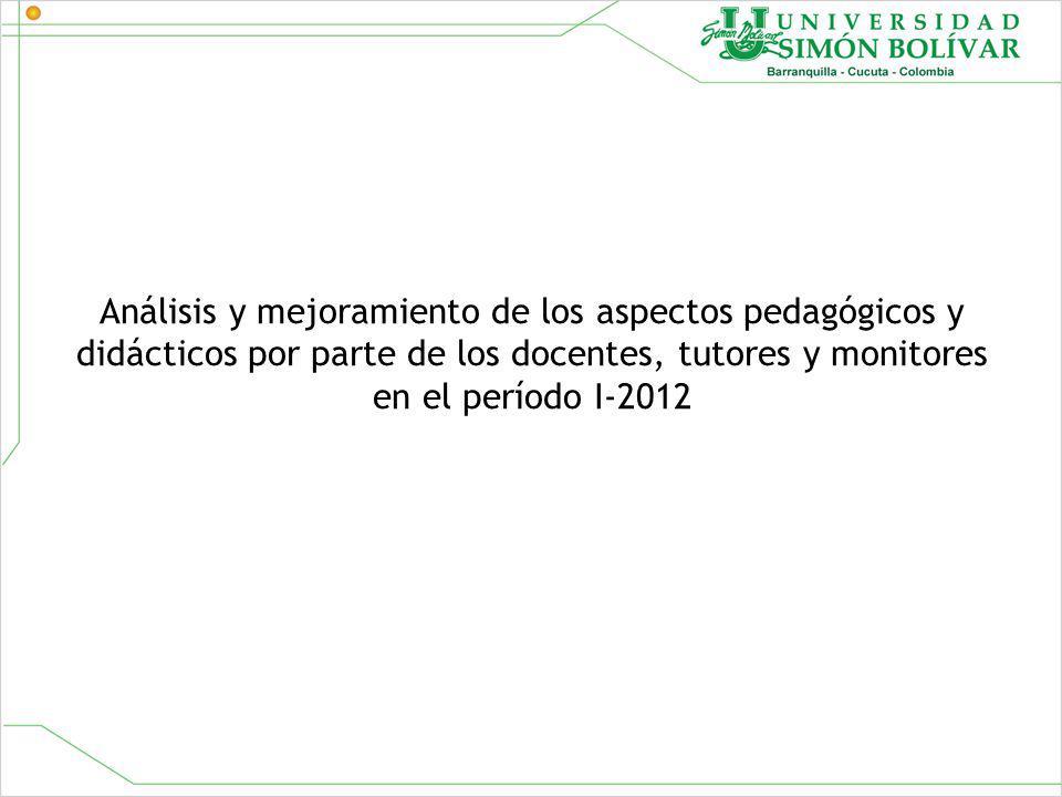 Análisis y mejoramiento de los aspectos pedagógicos y didácticos por parte de los docentes, tutores y monitores en el período I-2012