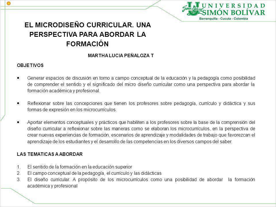 EL MICRODISEÑO CURRICULAR.