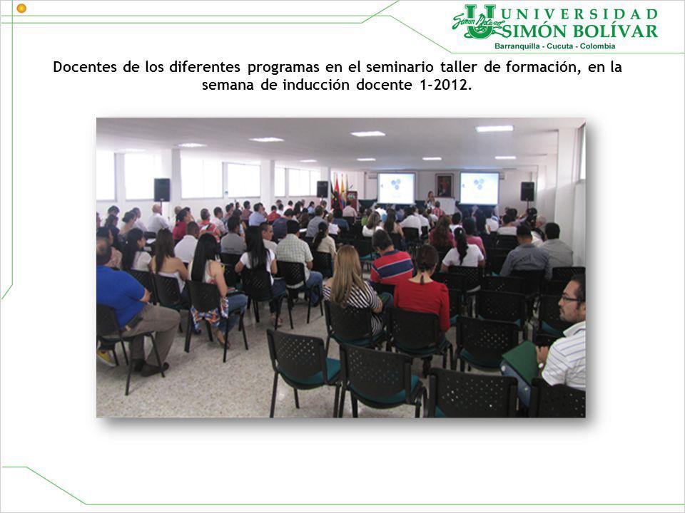 Docentes de los diferentes programas en el seminario taller de formación, en la semana de inducción docente 1-2012.