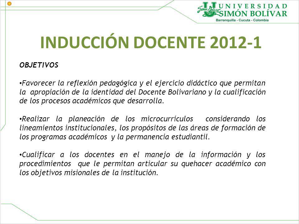 INDUCCIÓN DOCENTE 2012-1 OBJETIVOS Favorecer la reflexión pedagógica y el ejercicio didáctico que permitan la apropiación de la identidad del Docente Bolivariano y la cualificación de los procesos académicos que desarrolla.