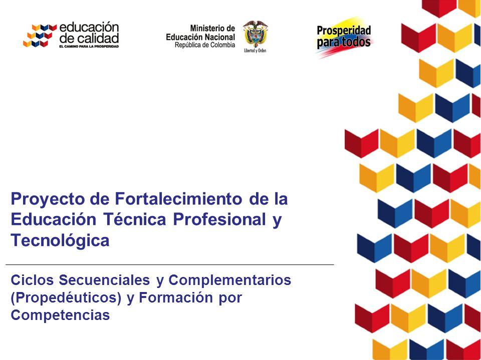 24 de junio de 2010 Proyecto de Fortalecimiento de la Educación Técnica Profesional y Tecnológica Ciclos Secuenciales y Complementarios (Propedéuticos) y Formación por Competencias
