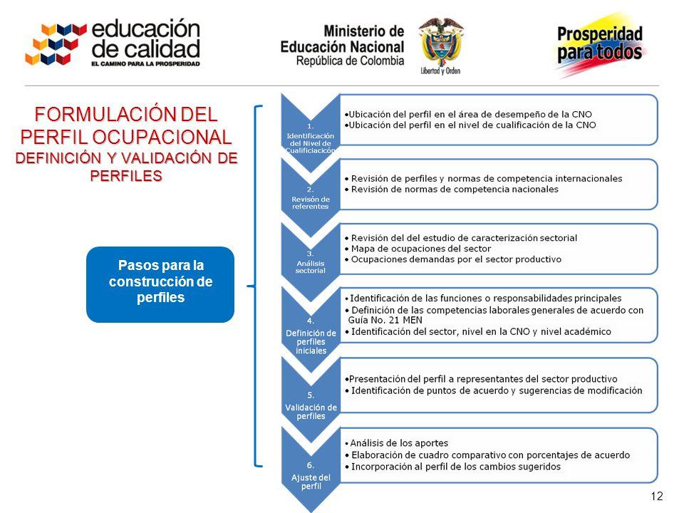 FORMULACIÓN DEL PERFIL OCUPACIONAL DEFINICIÓN Y VALIDACIÓN DE PERFILES Pasos para la construcción de perfiles 12
