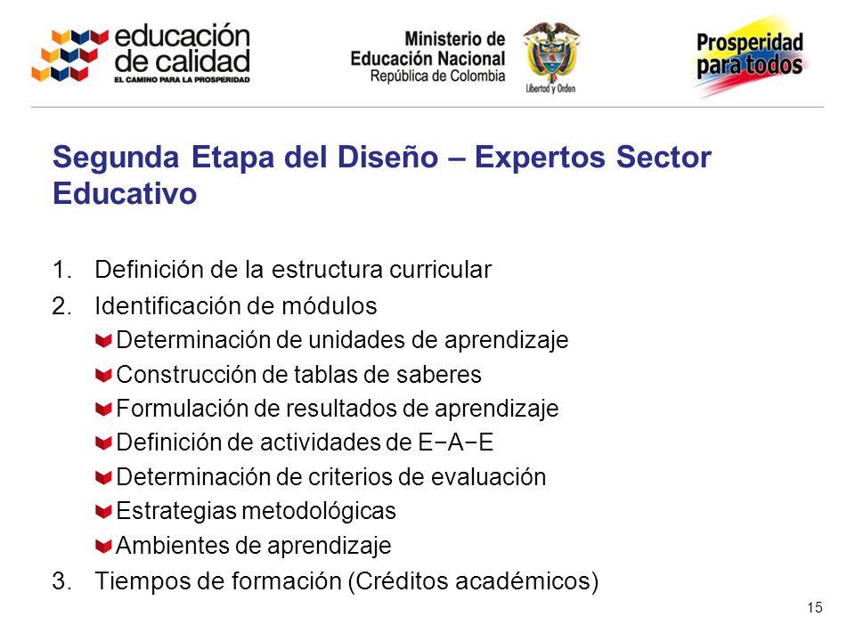1.Definición de la estructura curricular 2.Identificación de módulos Determinación de unidades de aprendizaje Construcción de tablas de saberes Formulación de resultados de aprendizaje Definición de actividades de EAE Determinación de criterios de evaluación Estrategias metodológicas Ambientes de aprendizaje 3.Tiempos de formación (Créditos académicos) Segunda Etapa del Diseño – Expertos Sector Educativo 15