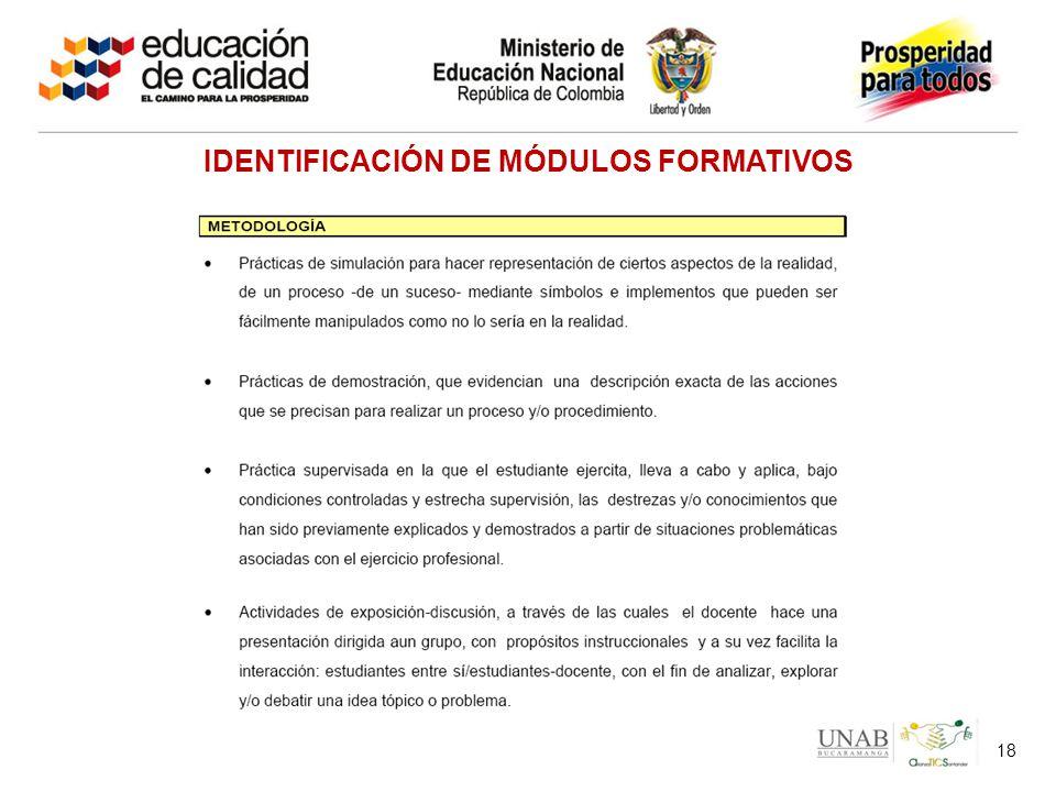IDENTIFICACIÓN DE MÓDULOS FORMATIVOS 18