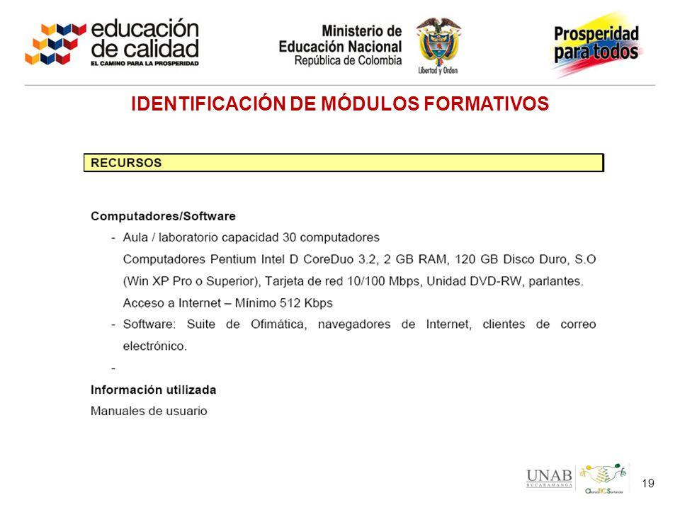 19 IDENTIFICACIÓN DE MÓDULOS FORMATIVOS