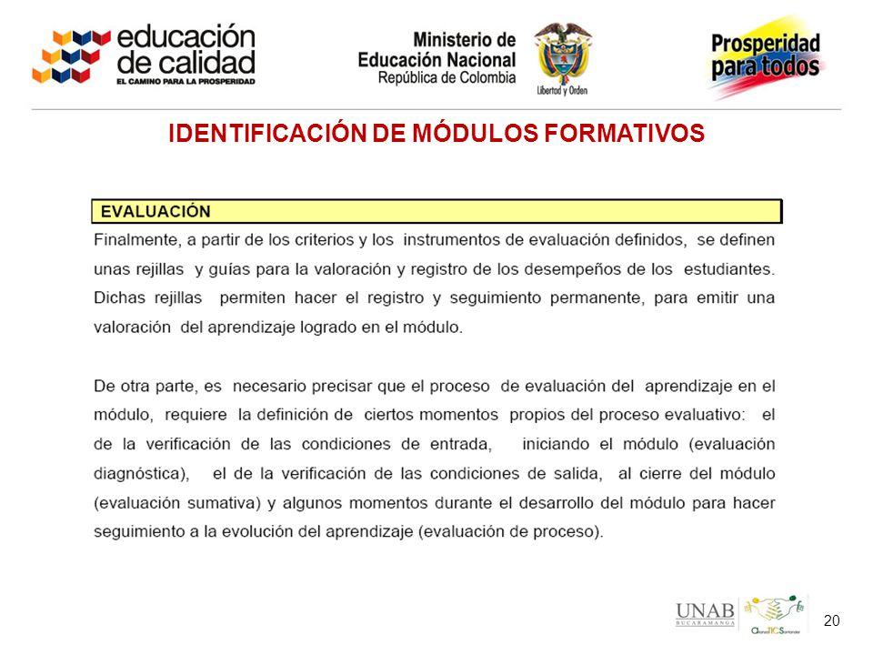 20 IDENTIFICACIÓN DE MÓDULOS FORMATIVOS