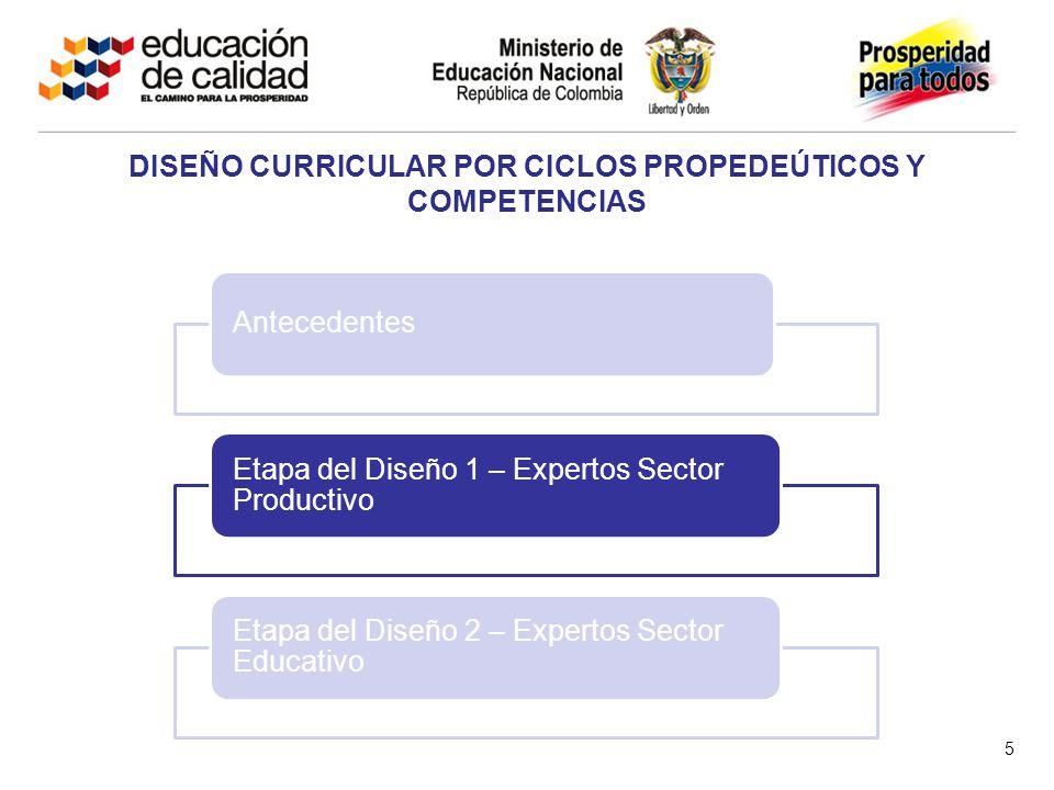5 Antecedentes Etapa del Diseño 1 – Expertos Sector Productivo Etapa del Diseño 2 – Expertos Sector Educativo DISEÑO CURRICULAR POR CICLOS PROPEDEÚTICOS Y COMPETENCIAS