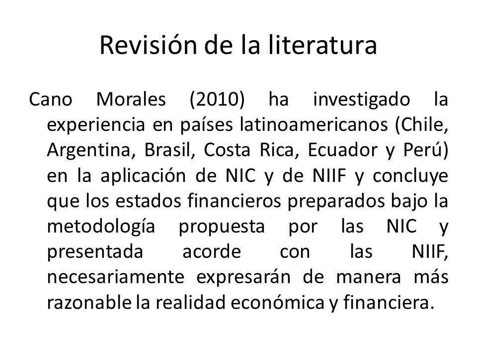 Revisión de la literatura Cano Morales (2010) ha investigado la experiencia en países latinoamericanos (Chile, Argentina, Brasil, Costa Rica, Ecuador