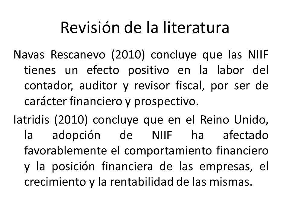 Revisión de la literatura Navas Rescanevo (2010) concluye que las NIIF tienes un efecto positivo en la labor del contador, auditor y revisor fiscal, p