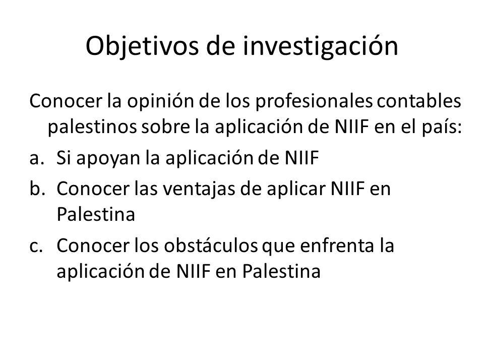 Objetivos de investigación Conocer la opinión de los profesionales contables palestinos sobre la aplicación de NIIF en el país: a.Si apoyan la aplicac