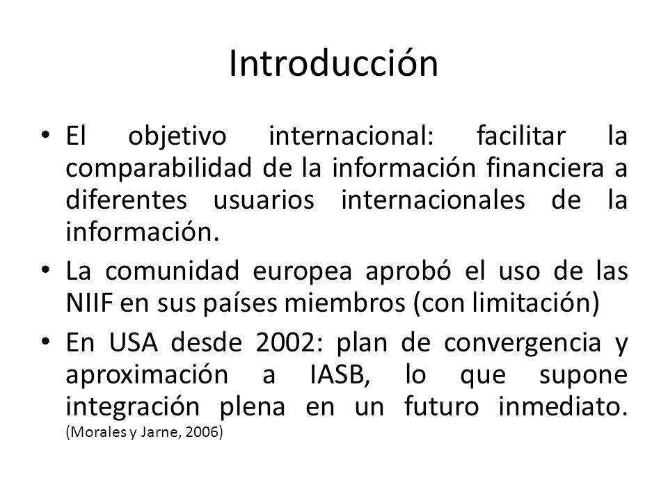 Introducción El objetivo internacional: facilitar la comparabilidad de la información financiera a diferentes usuarios internacionales de la informaci
