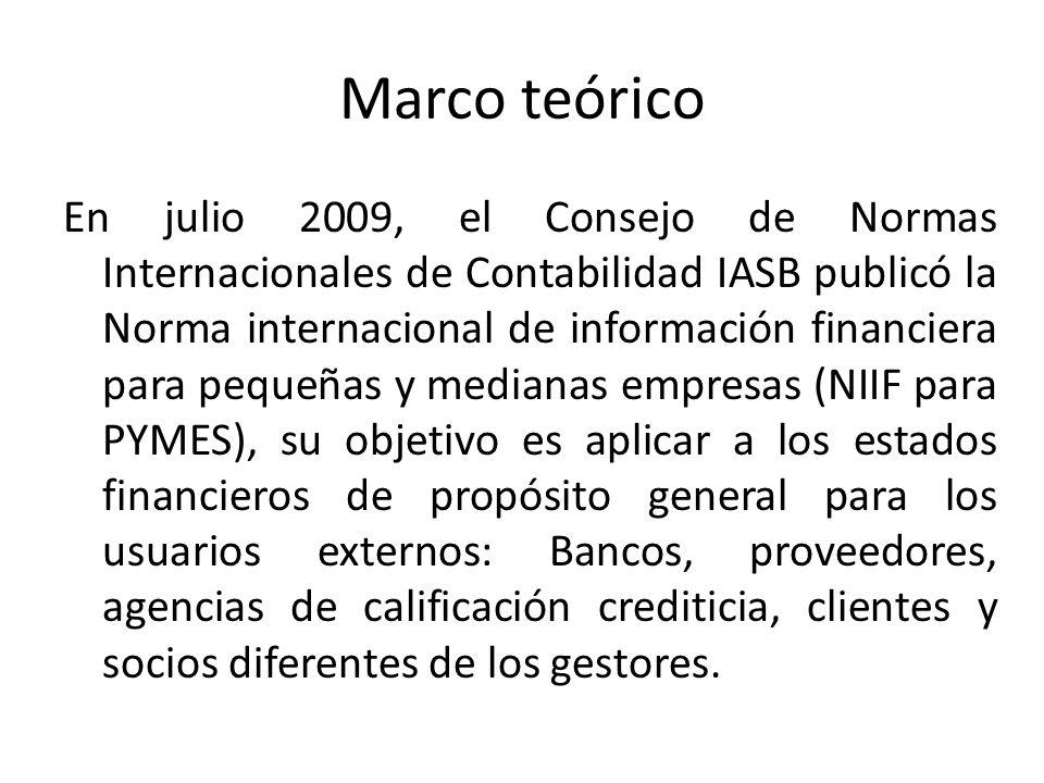 Marco teórico En julio 2009, el Consejo de Normas Internacionales de Contabilidad IASB publicó la Norma internacional de información financiera para p