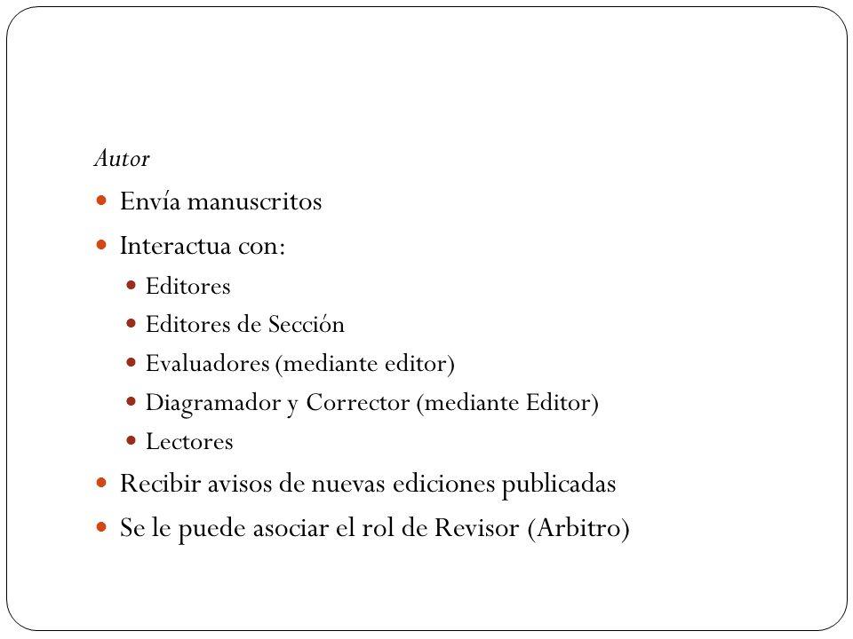 Autor Envía manuscritos Interactua con: Editores Editores de Sección Evaluadores (mediante editor) Diagramador y Corrector (mediante Editor) Lectores