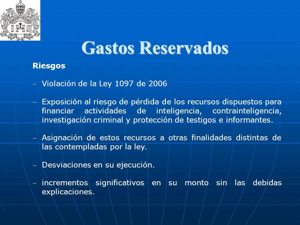 Gastos Reservados  Gastos Reservados Riesgos Violación de la Ley 1097 de 2006 Exposición al riesgo de pérdida de los recursos dispuestos para financi