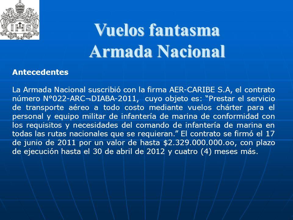 Vuelos fantasma  Vuelos fantasma Armada Nacional Antecedentes La Armada Nacional suscribió con la firma AER-CARIBE S.A, el contrato número N°022-ARC¬