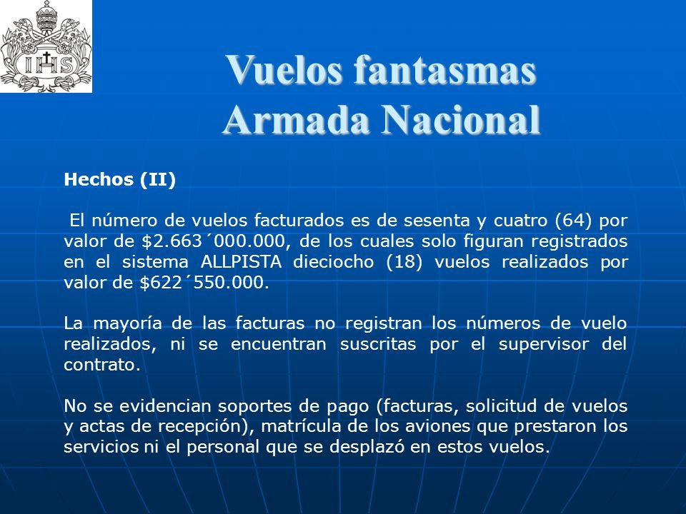 Vuelos fantasmas  Vuelos fantasmas Armada Nacional Hechos (II) El número de vuelos facturados es de sesenta y cuatro (64) por valor de $2.663´000.000