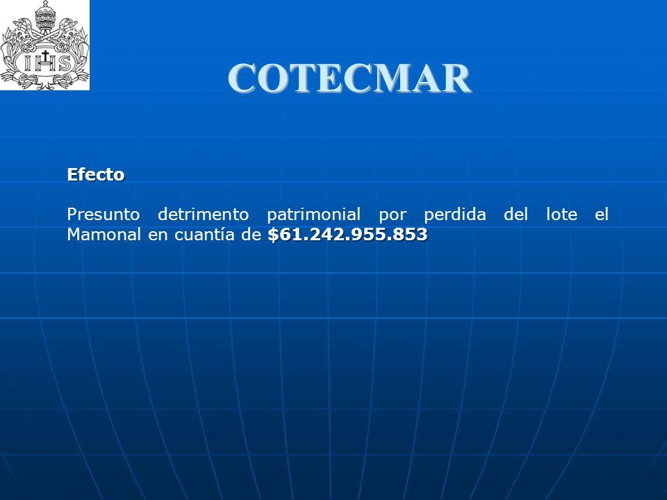 COTECMAR Efecto $61.242.955.853 Presunto detrimento patrimonial por perdida del lote el Mamonal en cuantía de $61.242.955.853