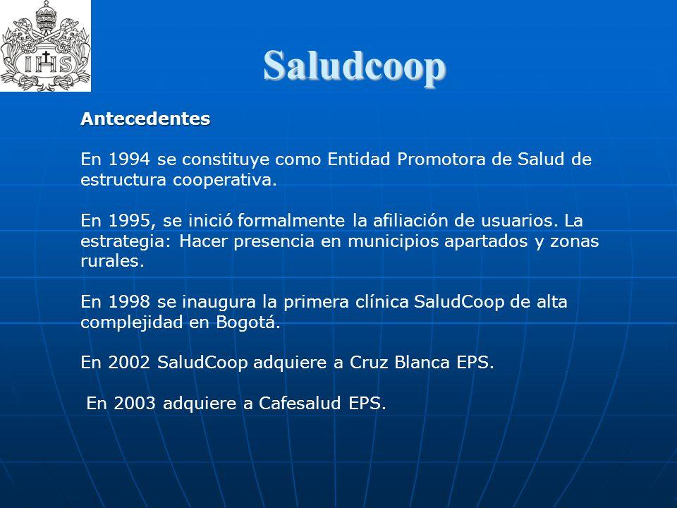 Saludcoop Antecedentes En 1994 se constituye como Entidad Promotora de Salud de estructura cooperativa. En 1995, se inició formalmente la afiliación d