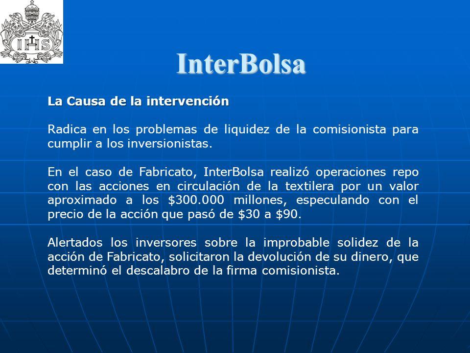 InterBolsa  La Causa de la intervención Radica en los problemas de liquidez de la comisionista para cumplir a los inversionistas. En el caso de Fabri