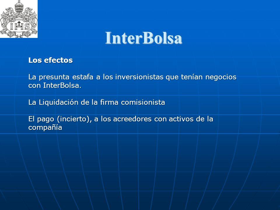 InterBolsa  Los efectos La presunta estafa a los inversionistas que tenían negocios con InterBolsa. La Liquidación de la firma comisionista El pago (