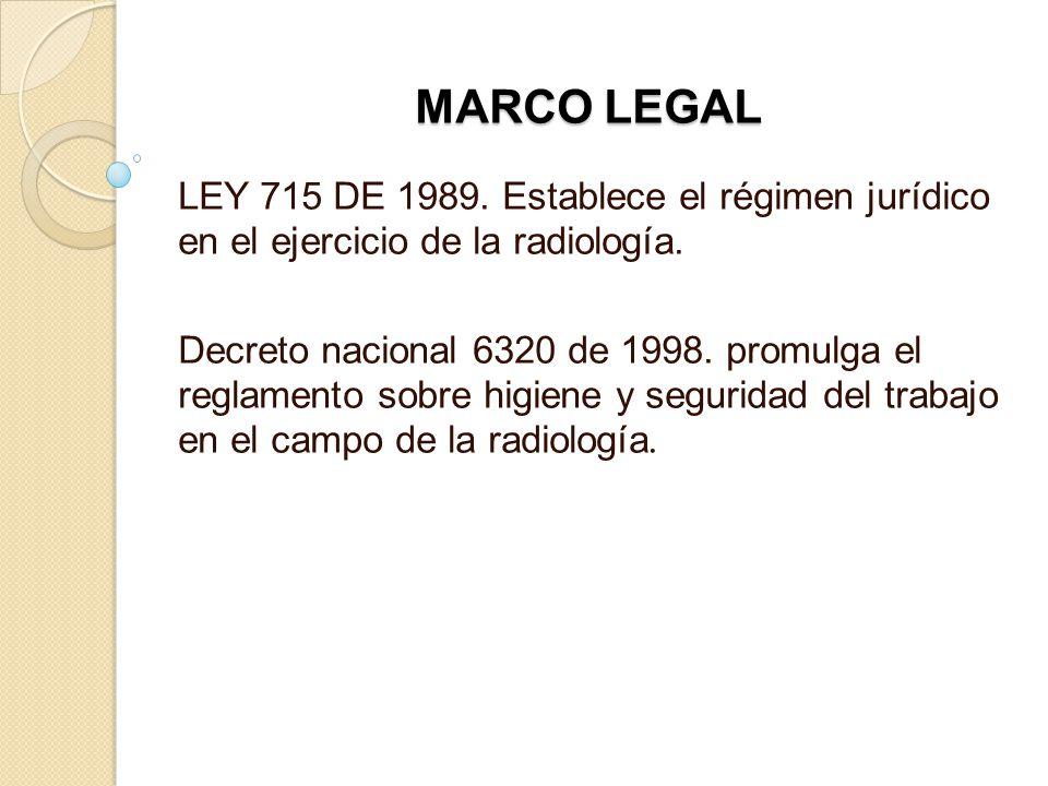 MARCO LEGAL LEY 715 DE 1989. Establece el régimen jurídico en el ejercicio de la radiología. Decreto nacional 6320 de 1998. promulga el reglamento sob