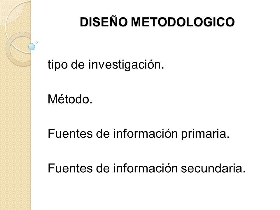 DISEÑO METODOLOGICO tipo de investigación. Método. Fuentes de información primaria. Fuentes de información secundaria.