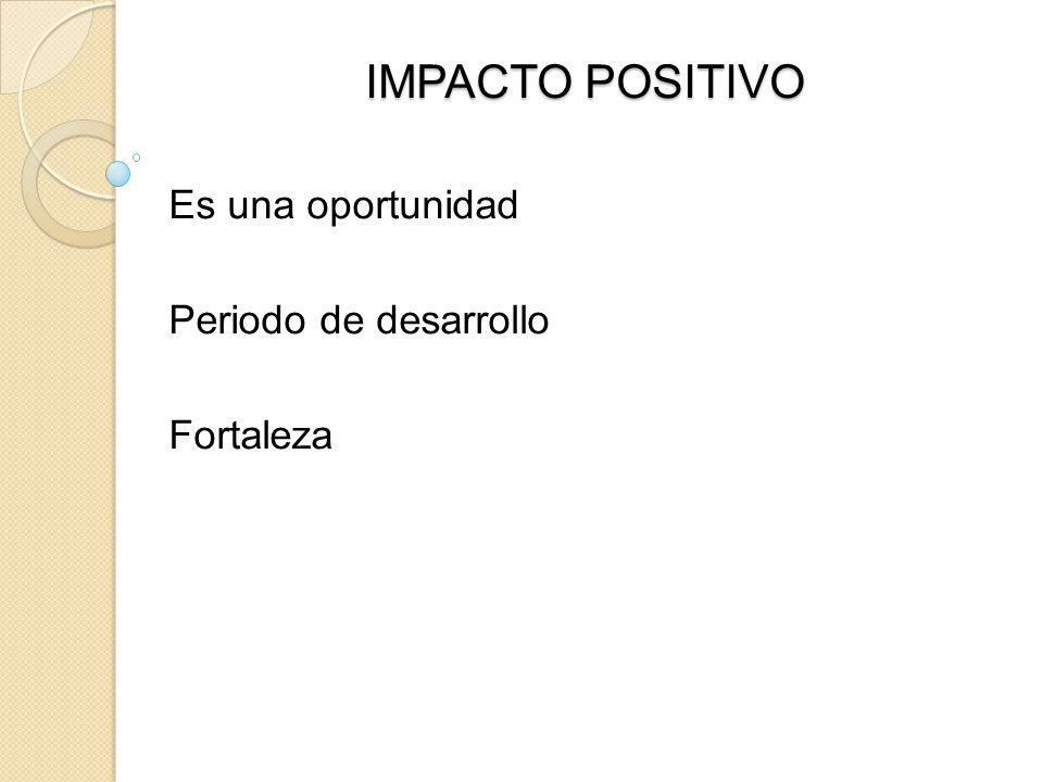 IMPACTO POSITIVO Es una oportunidad Periodo de desarrollo Fortaleza