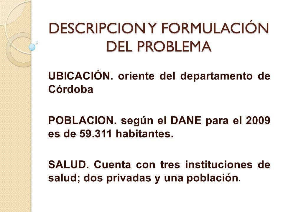 DESCRIPCION Y FORMULACIÓN DEL PROBLEMA UBICACIÓN. oriente del departamento de Córdoba POBLACION. según el DANE para el 2009 es de 59.311 habitantes. S