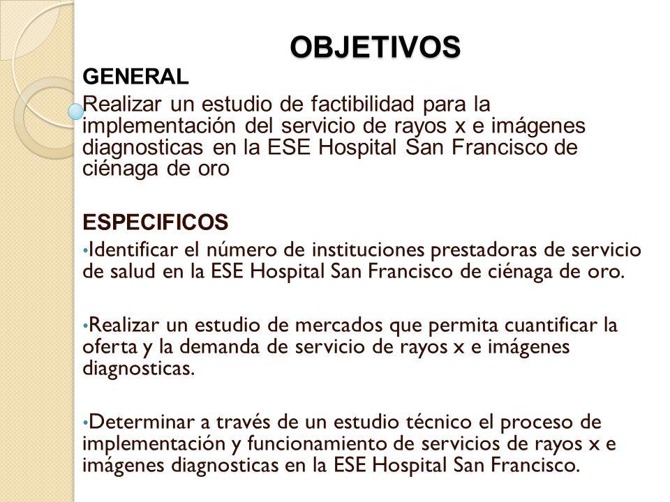 OBJETIVOS GENERAL Realizar un estudio de factibilidad para la implementación del servicio de rayos x e imágenes diagnosticas en la ESE Hospital San Fr