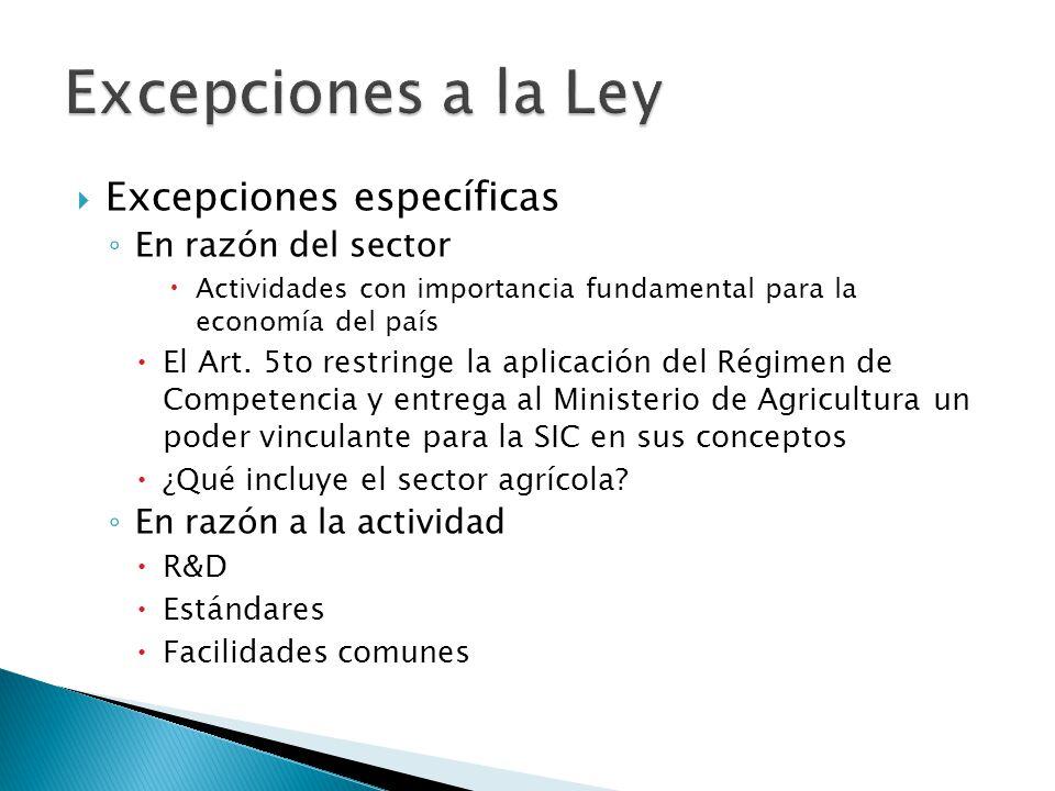 Excepciones específicas En razón del sector Actividades con importancia fundamental para la economía del país El Art.