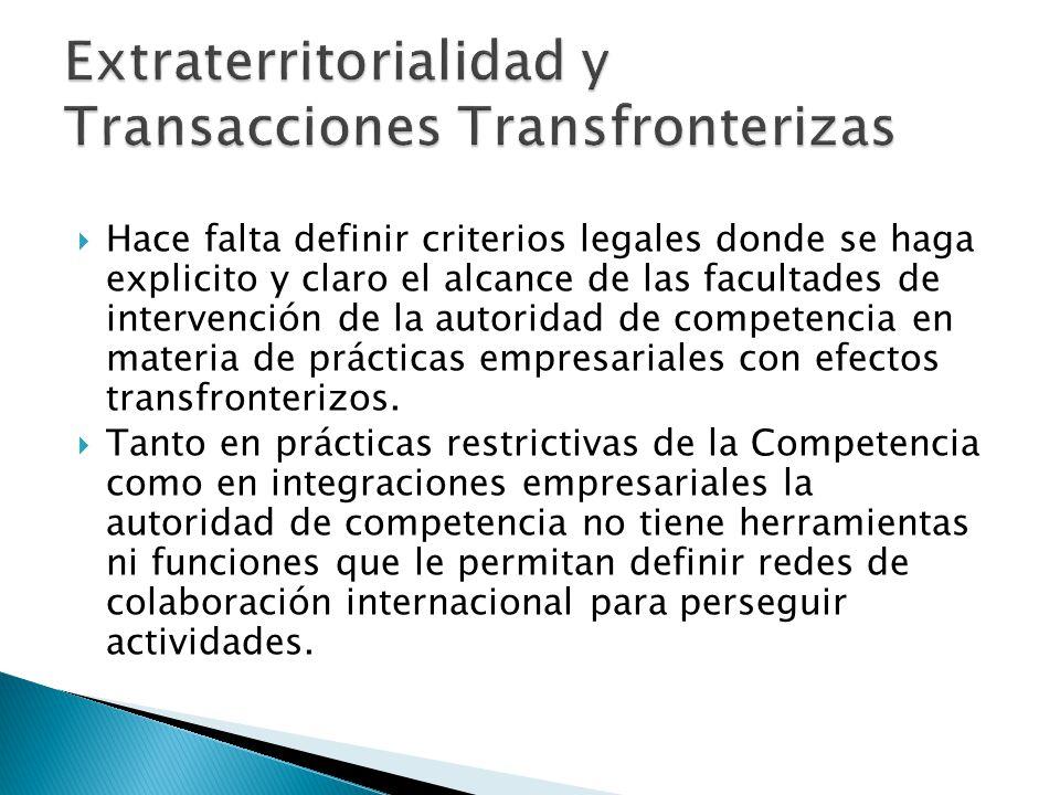 Hace falta definir criterios legales donde se haga explicito y claro el alcance de las facultades de intervención de la autoridad de competencia en materia de prácticas empresariales con efectos transfronterizos.