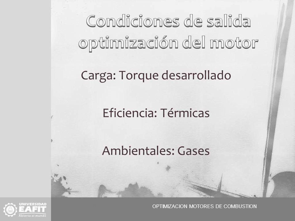 OPTIMIZACION MOTORES OPTIMIZACION MOTORES DE COMBUSTION OOP Carga: Torque desarrollado Eficiencia: Térmicas Ambientales: Gases