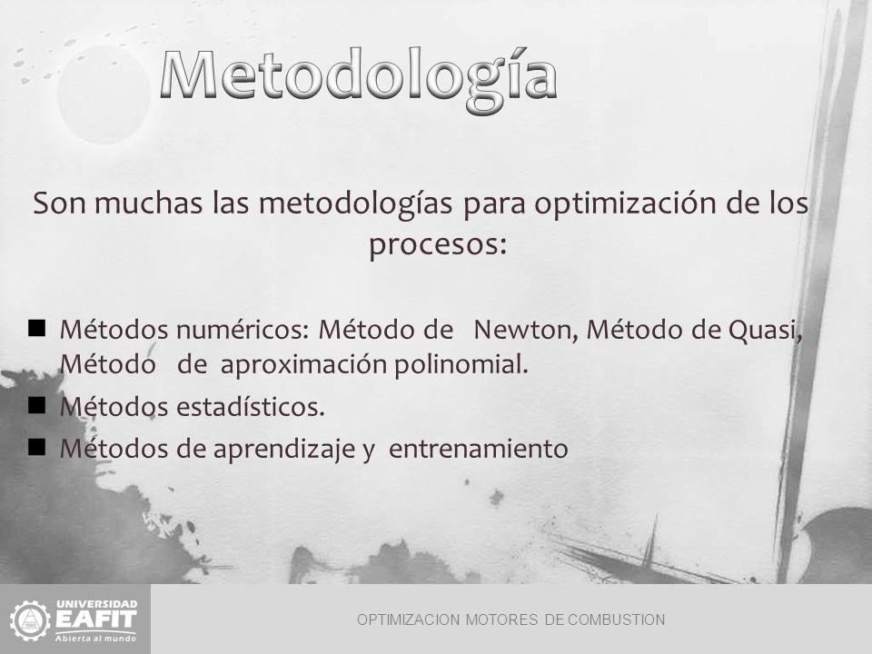 OPTIMIZACION MOTORES DE COMBUSTION Son muchas las metodologías para optimización de los procesos: Métodos numéricos: Método de Newton, Método de Quasi, Método de aproximación polinomial.