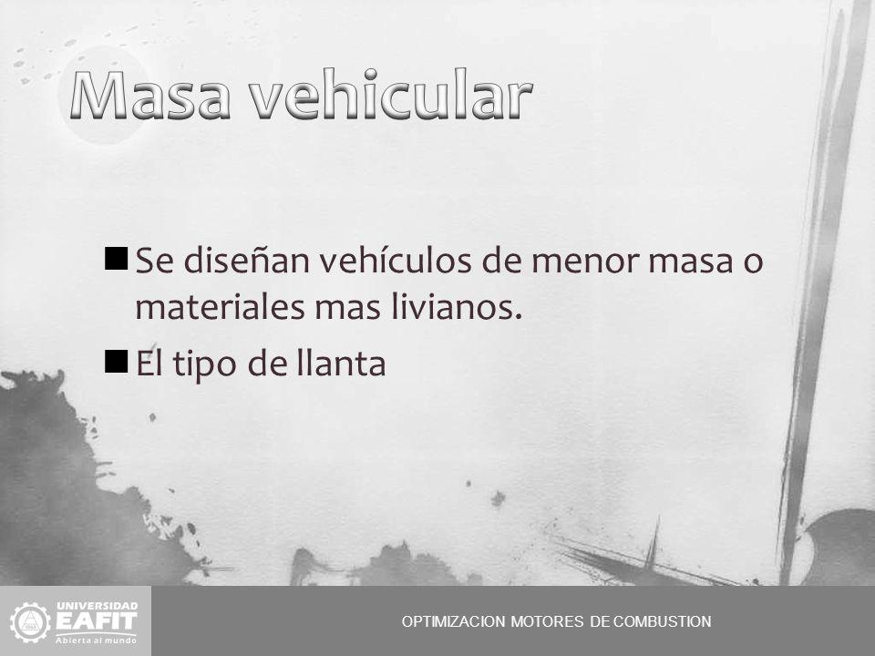 OPTIMIZACION MOTORES DE COMBUSTION Se diseñan vehículos de menor masa o materiales mas livianos.