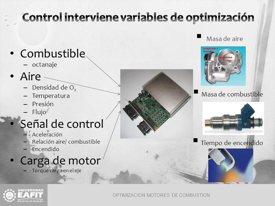 OPTIMIZACION MOTORES DE COMBUSTION El motor es un sistema multivariables.