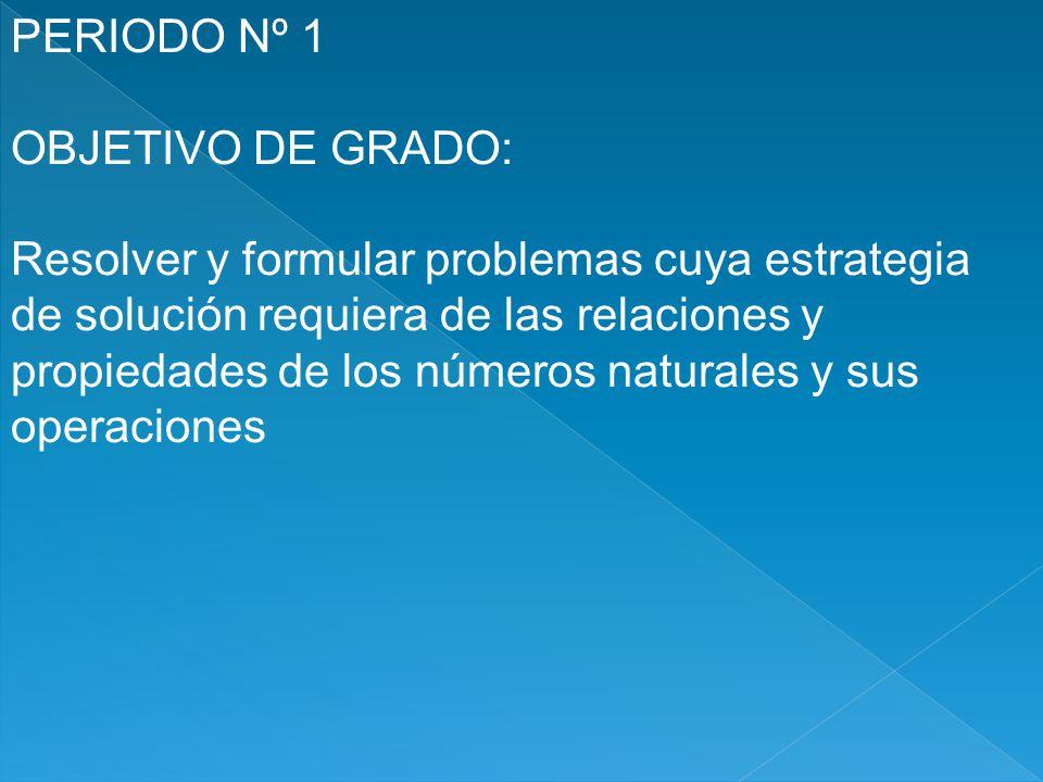 PERIODO Nº 1 OBJETIVO DE GRADO: Resolver y formular problemas cuya estrategia de solución requiera de las relaciones y propiedades de los números natu