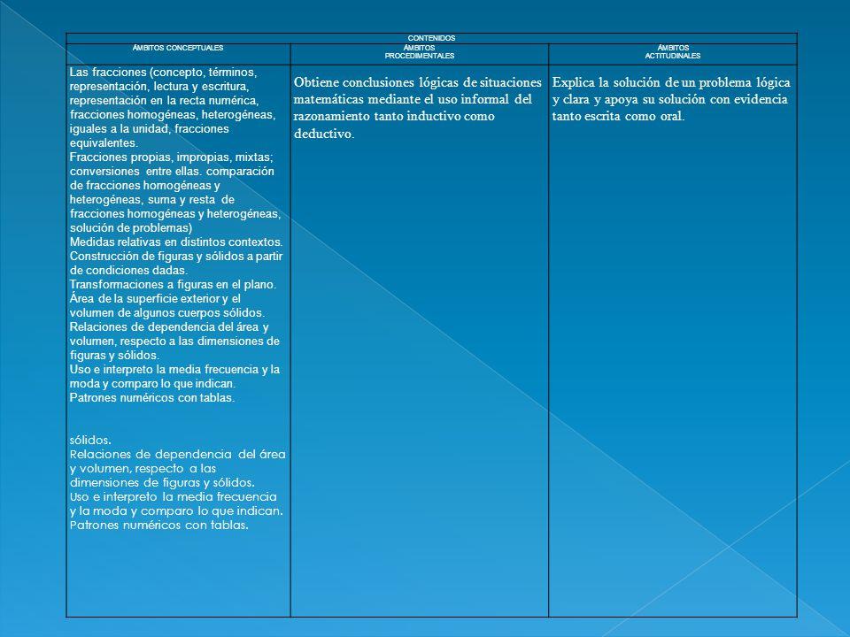 CONTENIDOS ÁMBITOS CONCEPTUALESÁMBITOS PROCEDIMENTALES ÁMBITOS ACTITUDINALES Las fracciones (concepto, términos, representación, lectura y escritura,