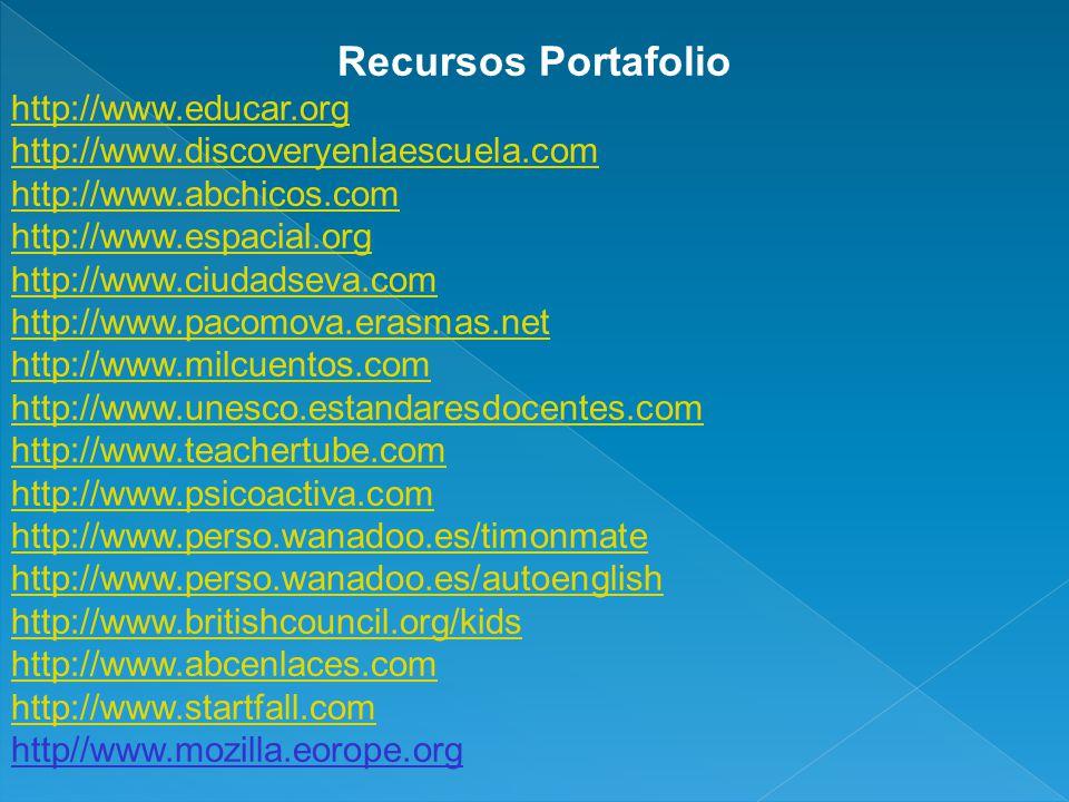Recursos Portafolio http://www.educar.org http://www.discoveryenlaescuela.com http://www.abchicos.com http://www.espacial.org http://www.ciudadseva.co