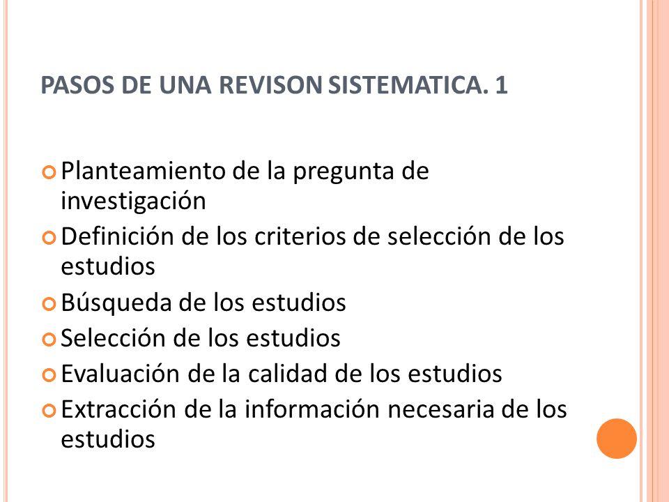 PASOS DE UNA REVISON SISTEMATICA.
